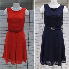 NEW WALLIS LACE BELTED FIT AND FLARE COCKTAIL DRESS RED NAVY BLUE 10 to 18 Fit And Flare Cocktail Dress, Red Cocktail Dress, Wallis, Dress Red, 18th, Navy Blue, Belt, Lace, Fitness
