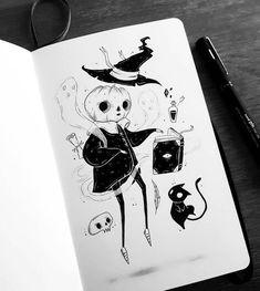 Design & Art inspiration artwork by Behemot Best Picture For Illustration art pencil For Your Taste You are. Ink Illustrations, Illustration Art, Desenhos Halloween, Character Art, Character Design, Arte Sketchbook, Inspirational Artwork, Creepy Art, Anime Sketch