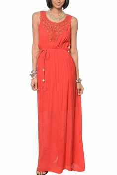 DHStyles Women's Sweet Jeweled Floral Crochet Floor Length Dress with Rope Belt-Small - Red