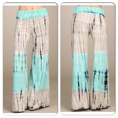 ⭐️LAST PAIR⭐️NWT Aqua Tie Dye Wide Leg Pants Small NWT Aqua Tie Dye Wide Leg Pants. These pants are the best of both worlds -- style and comfort! Very stretchy and soft. Fold over waistband, wide leg. Made in the USA! Material is Viscose/Spandex blend. Each item is hand dyed and will have slightly unique dye patternsNo Trades and No Paypal Pants Wide Leg