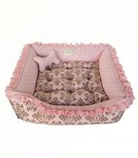 Cama Rosa Arabesco com Renda My Pet