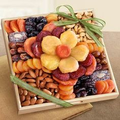 Dried Fruit Floral Gift Tray. See more at www.pro-gift-baskets.com!