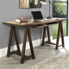 Simpli Home Sawhorse Computer Desk with Integrated Keyboard Tray AllModern Small Home Offices, Home Office Desks, Home Office Furniture, Office Decor, Office Ideas, Furniture Decor, Find Furniture, Bureau Design, Cabinet Design
