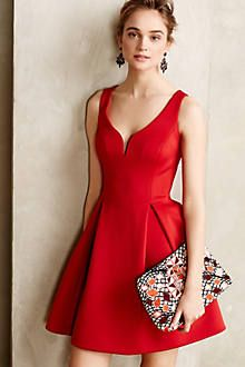 Ponte & Leather Flared Dress - anthropologie.com