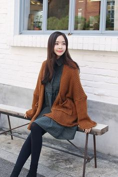 Pocket Wool Cardigan | Korean Fashion