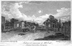 An engraving (dated 1808) showing the view through The Mile End (Toll) Gate towards Whitechapel.