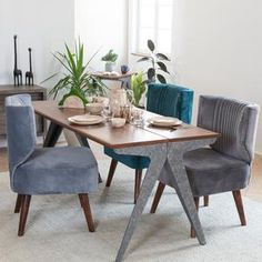 Industrial and mid-century? Always a good idea! Gravity accent chair, paired with the farmhouse beauty that is the Benson dining table! Modern Furniture Online, Black Furniture, Home Decor Furniture, Furniture Making, Living Room Furniture, Elegant Home Decor, Elegant Homes, Dining Table In Kitchen, Dining Room