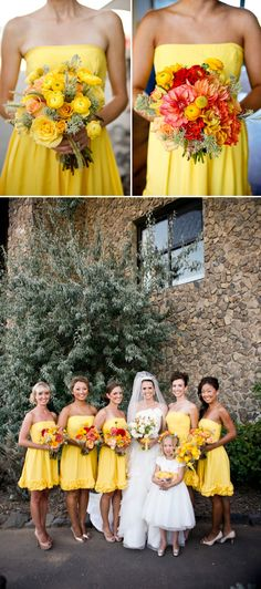 Yellow bridesmaid dresses with bright orange and yellow bouquets; photos by Belathée Photography | junebugweddings.com