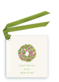 Spring Peony Wreath ©Lobird gift tags and favor tags, beautiful for Spiring and Easter gifts and favors | Lobird.com