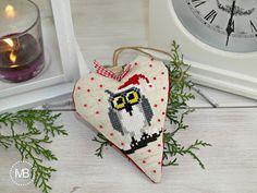 Heart Cross Stitch decoration by MiauBoutique - Owl Cross Stitch Heart, Owl, Boutique, Decoration, Christmas, Decor, Xmas, Owls, Navidad