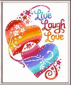 Live Laugh Love Hearts - Cross stitch pattern designed by Ursula Michael