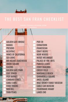 A guide of what to eat, drink and do in San Francisco, California. This guide includes everything from brunch spots, to the best places to see the Golden Gate and weather tips for the city. San Francisco Vacation, San Francisco Travel Guide, Usa San Francisco, San Francisco California, Brisbane, Melbourne, New Orleans, New York, Cairns