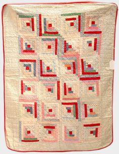 """Log Cabin baby quilt, 44"""" x 33"""", Dargate Auction Galleries, Live Auctioneers"""