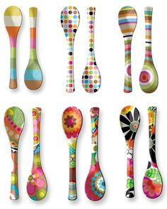 Hand painted wooden spoons I would do the handle.