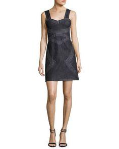 2017 NM Derek Lam $425 Sleeveless Geometric Chambray Sheath Dress, Indigo