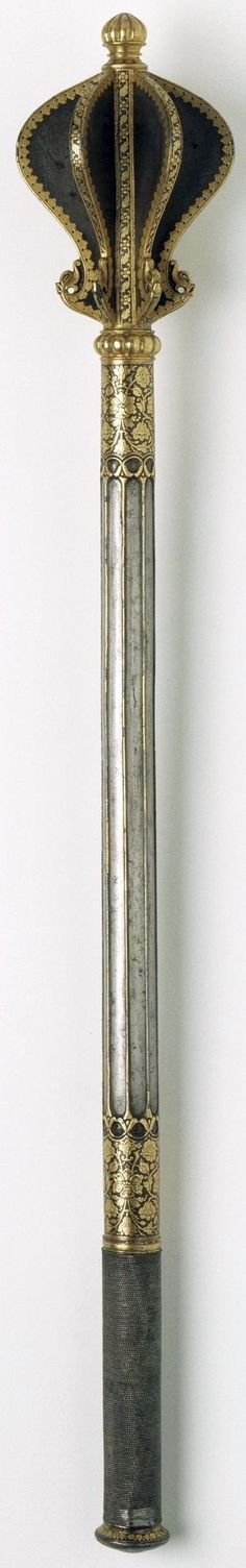 Indian shishpar (flanged mace), 17th century to early 18th century, steel, finely inlaid with gold