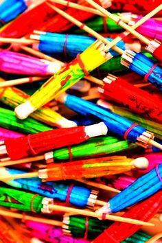 Rainbow color cocktail umbrellas