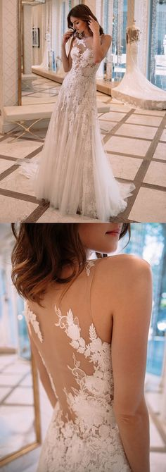elegant wedding dresses with appliques, formal backless dreamy gowns for wedding.