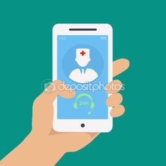 Vecto flat concept web design of hand holding mobile phone with medical assistance and doctor consultation online icon — Stock Illustration #72991795