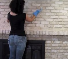 Newest Absolutely Free original Brick Fireplace Suggestions How to paint a brick fireplace – lighter highlight color White Wash Brick Fireplace, Brick Fireplace Wall, Fireplace Lighting, Painted Brick Fireplaces, Cabin Fireplace, Fireplace Update, Brick Fireplace Makeover, Rustic Fireplaces, Farmhouse Fireplace