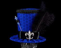 Blue and Black Fleur de Lis Mini Top Hat Fascinator, Alice in Wonderland, Mad Hatter Tea Party, Derby Hat