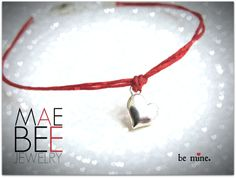 Perfect gifties for your #Valentine! Sterling silver puff #heart on red linen #bracelet. From JewelryByMaeBee on #Etsy. www.jewelrybymaebee.etsy.com