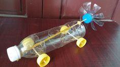 Cómo hacer un coche con botellas de plástico   Banda elástica coche acci...