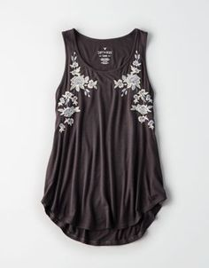 5160287f2ef0c9 AE FLORAL EMBROIDERED FAVORITE SCOOP NECK TANK TOP by American Eagle  Outfitters
