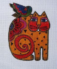needlepoint, Laurel Burch cat & bird, distributed by Danji Cross Stitching, Cross Stitch Embroidery, Cross Stitch Patterns, Laurel Burch, Needlepoint Kits, Needlepoint Canvases, Hand Painted Canvas, Cross Stitch Animals, Tapestry Crochet