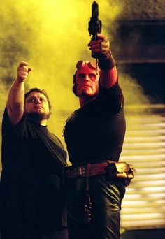 Guillermo del Toro and Ron Perlman on the set of Hellboy.