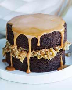 Espresso Brownie Layer Cake with Caramel Sauce
