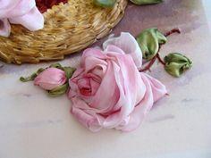 Small silk ribbon rose. Ribbon embroidery by Tatiana Popova of Kiev, Ukraine (www.sovushka.com.ua)