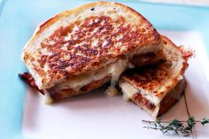 Toasted Ciabatta Sandwich with Bacon and Brie #grilledcheese