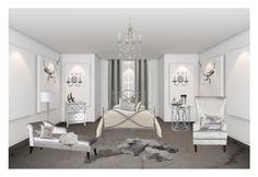 """Gray"" by ficeraab ❤ liked on Polyvore featuring interior, interiors, interior design, home, home decor, interior decorating, Sun Zero, Madison Park, Worlds Away and Dainolite"