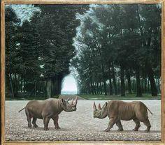 """""""Neushoorns in het Parc des Sceaux (Rhinoceros in the Parc des Sceaux)"""", 1956 / Carel Willink (1900-1983) / Private Collection"""