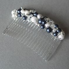 Navy Hair Combs - Dark Blue Bridesmaid Accessories - Pearl and Crystal Bridal Party Head Piece - Midnight Blue Wedding Fascinator