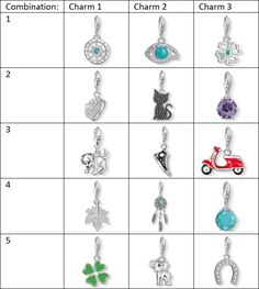 Possible charm combinations for Thomas Sabo Bracelets
