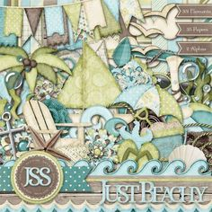 Personal Use :: Kits :: Just Beachy Kit Digital Scrapbooking Beach Vacation Sand Sun Sea Travel