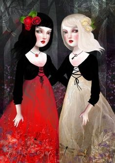Snow White and Rose Red by Lisa Falzone. I've had this picture on my spell wall for years; it looks like the essence of my best friend and I.