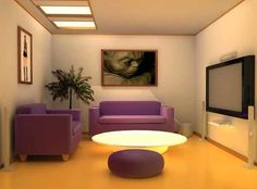 Penataan Kursi sofa ruang tamu dengan tv layar lebar