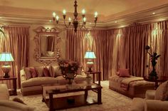 A contemporary home in Johannesburg, inspired by Classical Italian interior design and decoration. Sumptuous use of rich fabrics. Italian Interior Design, Paint Techniques, Chandeliers, Fabrics, Lounge, Interiors, Curtains, Contemporary, Inspired