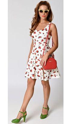 Retro Style White & Red Fruit Print Scuba Knit Fit & Flare Dress