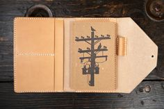 Natural Vegetable Tanned Leather Travel Wallet Field Notes Wallet Passport Wallet Handstitched Made in USA Leather Wallet With Pen Holder