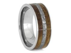 Whiskey Oak Titanium Ring With Gibeon Meteorite, Wooden Wedding Band, Natural Jewelry