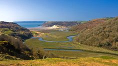 Views down over Pennard Pill and the valley leading into Three Cliffs Bay, Gower... i miss walking down this valley. so peaceful.