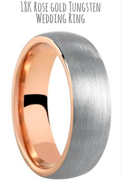 Mens 18k rose gold tungsten wedding band with a silver brushed textured top. This mens wedding band is extremely durable. This wedding band is available in widths 6mm and 8mm.