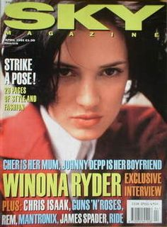 Sky magazine - Winona Ryder cover (April 1991) Guns N Roses, 1990s Nostalgia, Winona Forever, Chris Isaak, Newspaper Headlines, James Spader, Pop Culture News, Winona Ryder, Strike A Pose