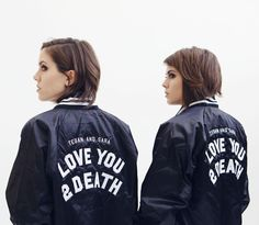 Love You To Death Satin Baseball Bomber Jacket - Apparel Baseball Uniforms, Baseball Socks, Baseball Jackets, Rain Jacket, Bomber Jacket, Tegan And Sara, Forever Yours, Stuff And Thangs, Skirt Suit