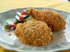 Chicken Baked in Cornflake Crumbs : Trisha Yearwood's easy weeknight baked chicken recipe is equal parts juicy, crisp and spicy. Dip assorted chicken pieces into a mixture of buttermilk and hot sauce, then roll the chicken in crushed cornflakes before baking until golden brown.