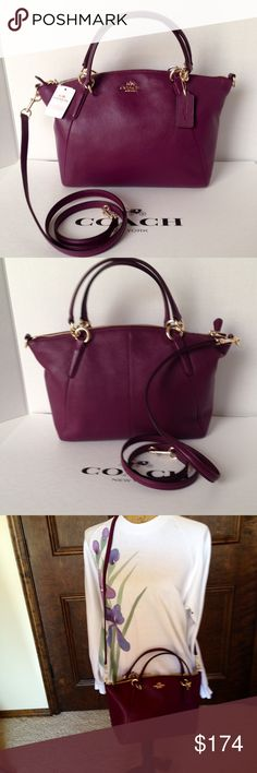 """NWT Coach Pbl Lthr Sm Kelsey/Plum Coach F36675 pebbled leather small satchel/Crossbody Kelsey, plum. Zip top closure. Gold hardware. Removable, adjustable strap for Crossbody wear. Handle drop 5"""". Interior lining with zippered pocket and two slip pockets. Gorgeous! No Trades Coach Bags Satchels"""